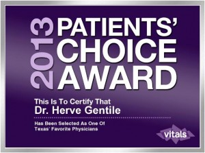 2013 Patients Choice Award For Dr. Hervé Gentile